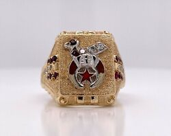 Gothic 10kt Gold Shriners Freemason Diamond And Ruby Ring Size 10.5, 14.6 Grams