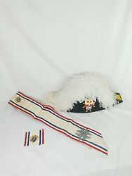 Knights Of Columbus 4th Degree White Ostrich Feather Chapeau Hat W/ Sash
