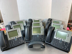 Lot Of 9 Cisco 7942 Series Cp-7942g Ip Business Voip Telephones W/ Handsets Pai