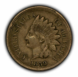 1859 1c Indian Head Small Cent - Vf/xf Coin - Sku-y3287
