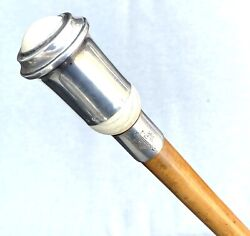 Vintage Antique 1800andrsquoengland Sterling Silver Knob Swagger Walking Stick Cane Old