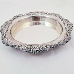 Wallace Silversmiths Baroque Silverplate 6.75 Round Gallery Floral Heavy Tray