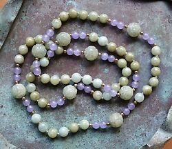 Gorgeous Chinese Export Natural Jade Necklace Celadon Lavender 14k Gold Beads 31