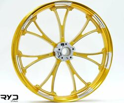Arc Gold And Polished 21 X 3.5 Front Wheel And Avon Tire - 2000-2020 Harley Touring