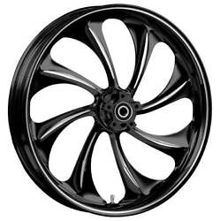"""21 X 3.5"""" Front Twisted Black Cut Front Wheel Rotors Tire 2000-up Harley Touring"""