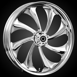"""21 X 3.5"""" Front Twisted Chrome Front Wheel Rotors Tire 2000-up Harley Touring"""