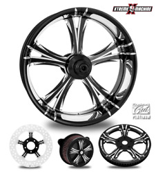 Fierce Contrast Cut Platinum 21 Front And Rear Wheels Tires Package 00-07 Bagger