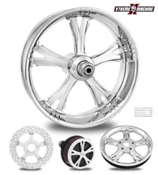 Performance Machine Fierce Chrome 23 Front Wheel And Tire Package 00-07 Bagger