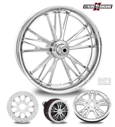 Performance Machine Execute Chrome 23 Front Wheel And Tire Package 08-19 Bagger