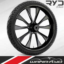 """Ryd Wheels Diode Blackline 23 X 5.0"""" Fat Front Wheel And Tire Package 00-07 Bagger"""