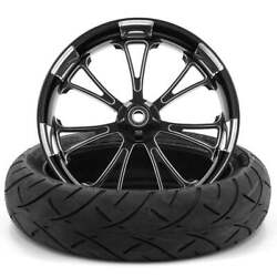 Arc Black Polished 18 X 5.5 Fat Front Wheel And 180 Tire - 2000-20 Harley Touring