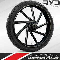 """Kinetic Blackline 21 X 5.5"""" Fat Front Wheel And 180 Tire Package 00-07 Touring"""