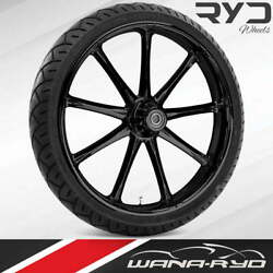 Ryd Wheels Ion Blackline 21 Fat Front Wheel Tire Package 13 Rotor 08-19 Bagger