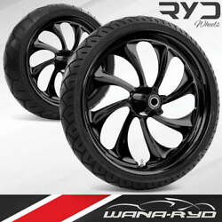 Ryd Wheels Twisted Blackline 21 Front And Rear Wheels Tires Package 00-07 Bagger