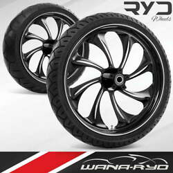 Ryd Wheels Twisted Starkline 21 Front And Rear Wheels Tires Package 00-07 Bagger