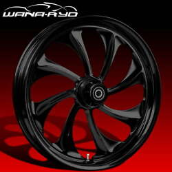 Ryd Wheels Twisted Blackline 23 Fat Front And Rear Wheels Only 00-07 Bagger