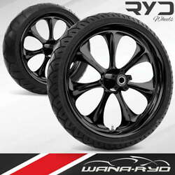Ryd Wheels Atomic Blackline 23 Front And Rear Wheels Tires Package 09-19 Bagger