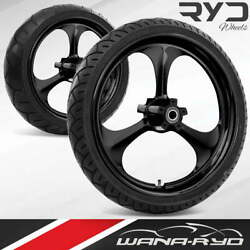Amp Blackline 23 Front And Rear Wheels Tires Package Dual Rotors 2008 Bagger