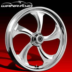 Rol215184frwtsdk08bag Rollin Chrome 21 Fat Front And Rear Wheels Tires Disk Fo