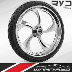 Ryd Wheels Rollin Chrome 23 Front Wheel Tire Package Single Disk 00-07 Bagger