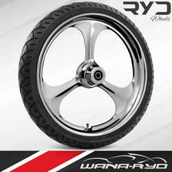 Ryd Wheels Amp Chrome 18 Fat Front Wheel Tire Package Dual Rotors 08-19 Bagger