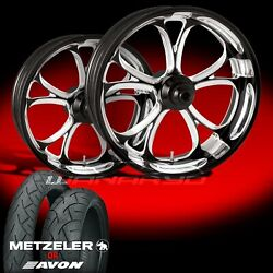 Luxe Contrast Cut Wheels And Tires For 1990-2006 Softail Fat Boy Lo