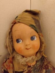 Vintage Antique Absolutely Beautiful 1920and039s Or 1930and039s Pixie Elf Handmade Doll