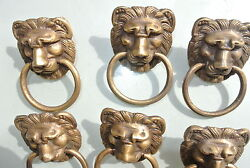 6 Lion Pulls Handles Small Heavy Solid Brass Old Style Bolt House Antiques B
