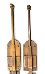 2 Flush Bolt French Old Age Style Doors Furniture Heavy Brass Slide 11 Bolts B