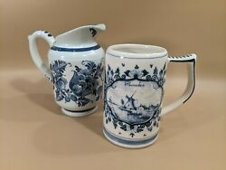 Pair Of Delfts Blue Hand Painted Beer Stein And Pitcher Holland