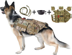 Sports Dog Tactical Harness Vest Includes Leash Pouches Patches Collapsible New
