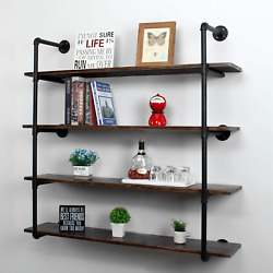 Industrial Retro Pipe Shelf Wall Mounted Rustic Floating Farmhouse Book Shelves