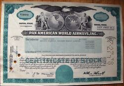 2 Attached Stock Certificates In Sequence + Document Pan Am-pan American World