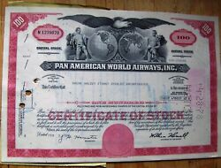 6 Attached Stock Certificates In Sequence + Document Pan Am-pan American World