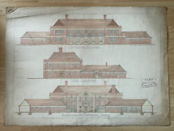 Antique 1914 Architectural Drawing Artwork