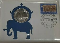 1971 India Bu 80 Silver 10 Rupees Coin W/stamp In Fdc 25th Anniversary Of Fao
