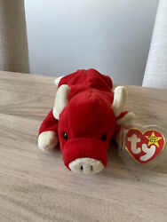 Rare Ty Snort The Red Bull Beanie Baby 1995 - Retired - Early Generation