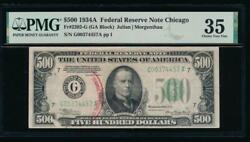 Ac 1934a 500 Five Hundred Dollar Bill Chicago Pmg 35 Comment