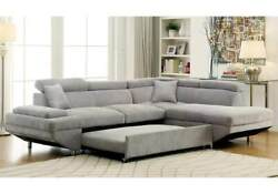 Contemporary Style Gray Cushion Sectional Sofa Chaise Plush Seats Couch Fabric