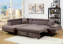 Contemporary Style Brown Cushion Sectional Sofa Chaise Plush Seats Couch Fabric