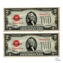 Rare Sequential 1928-d 2 Two Dollar Red Seal United States Notes Lot Of 2