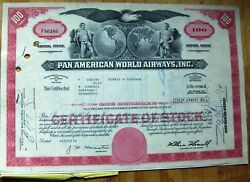 4 Attached Stock Certificates, 2 In Sequen + Document Pan Am-pan American World