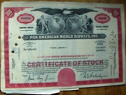 4 Attached Stock Certificates + 3 Documents Pan Am-pan American World 1970