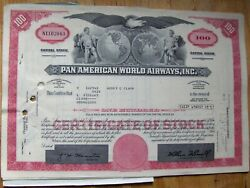 5 Attached Stock Certificates Sequential + 3 Document Pan Am-pan American World