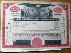 5 Attached Sequential Stock Certificates + Documents Pan Am-pan American World