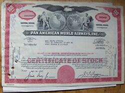3 Attached Stock Certificates + 9 Documents Pan Am-pan American World 1967