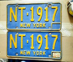 Pair Lot Of 2 Ny License Plates Nt-1917 11-72 Gc Gift