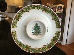 Spode Christmas Tree 2006 Annual 1pc Round Chip And Dip Platter / Dish