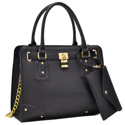 New Women#x27;s Handbags Faux Leather Satchel Purses for Work with Matching Wristlet $39.99