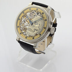Unique Wrist Watch Menand039s Skeleton Skull And Bones Engraved 18 Size Swiss Movement